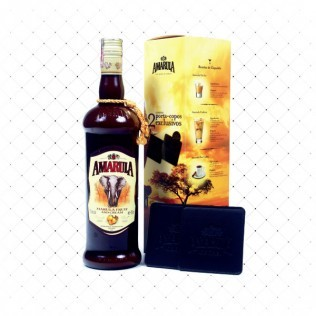 LICOR AMARULA 750ML COM 2 PORTA-COPOS EXCLUSIVO